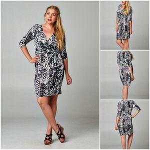 Dresses & Skirts - Plus Size 3/4 Sleeve Animal Print Wrap Dress